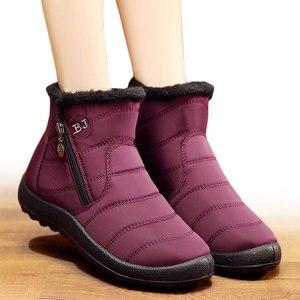 Image 2 - חורף נשים מגפי 2020 חם בפלאש שלג מגפי נשים נעלי צינור עבה עמיד למים רוכסן צד נעלי נשים קרסול מגפי פלוס גודל