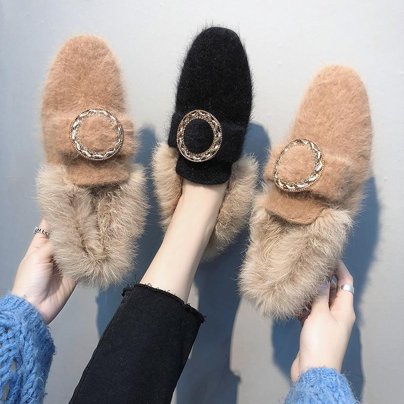 All-Match Shoes Woman 2019 Dress Flats Women Shallow Mouth Loafers Fur Modis Women's Moccasins Round Toe Casual Female Sneakers 32
