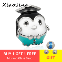 New 925 Sterling Silver charms cute doctorial hat penguin Beads with enamel Fit original pandora Bracelets diy Jewelry for gift new arrival charms sterling silver 925 hat beads fit original pandora charm bracelets diy jewelry accessory making for men gift