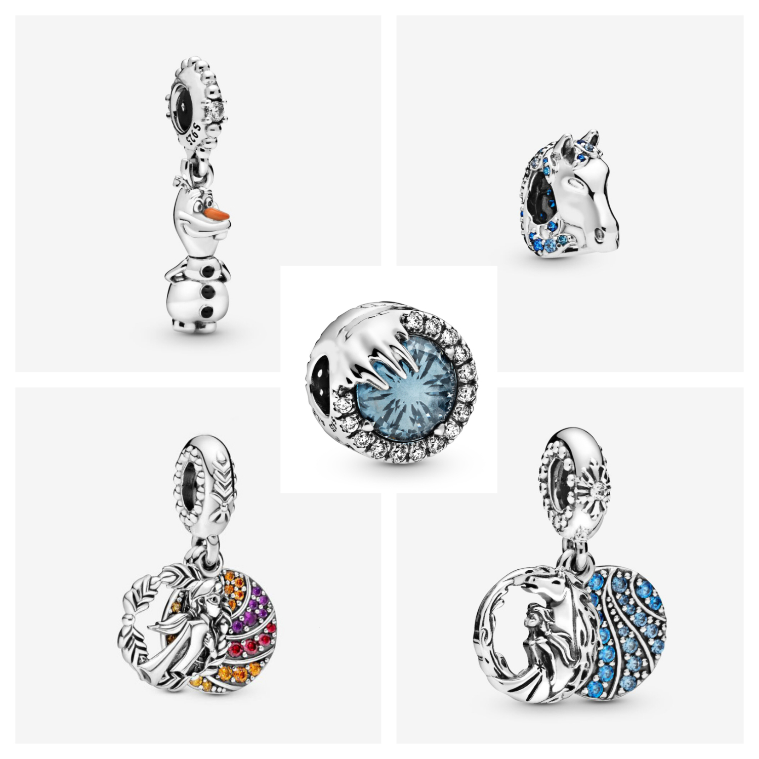 2019 Winter Authentic 925 Sterling Silver Frozen Anna Dangle Charm Frozen Olaf  Fit  Bracelet Bangle  Pendant DIY Jewelry