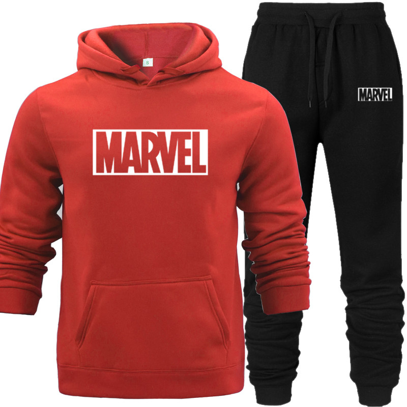 2019 Cotton Hoodie+Pants Men Casual MARVEL Print Keep Warm In Autumn Fashion Sporting Thermal MenSweatshirts Sport Suit Blue Red