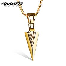 oulai777 2019 stainless steel  men spearhead necklaces & pendants hip hop chain male gold accessories pendant mens necklace