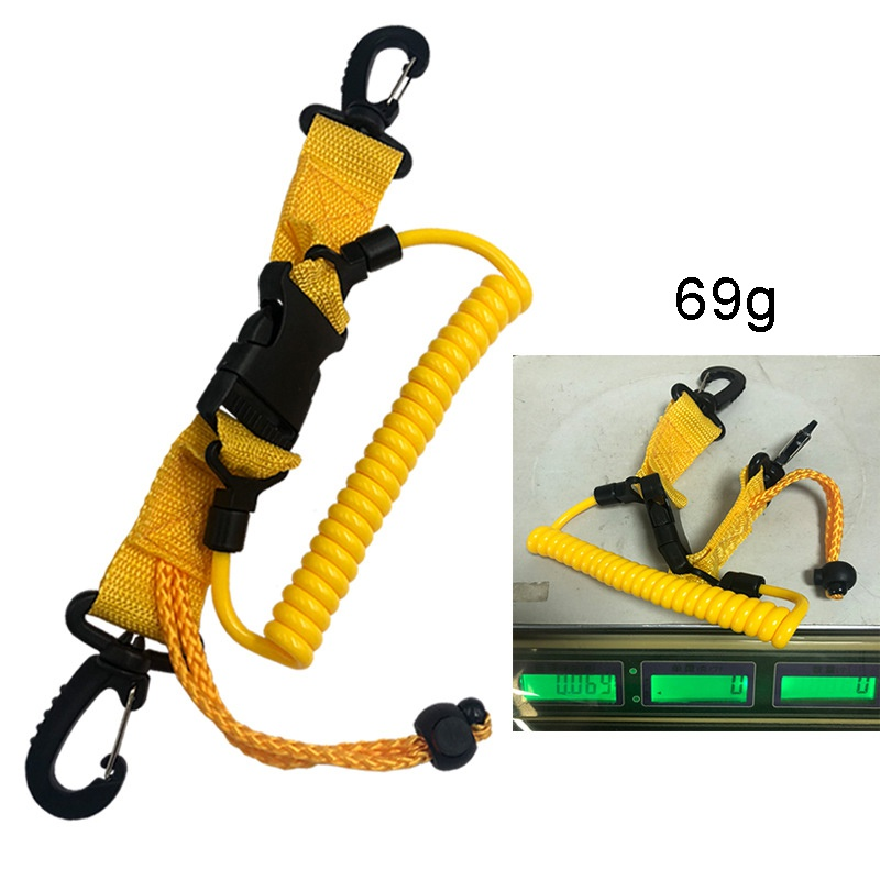 Diving Shark Coil Lanyard With Snaps And Quick Release Buckles Diving Cameras Diving Lanyard With Buckle Clips/