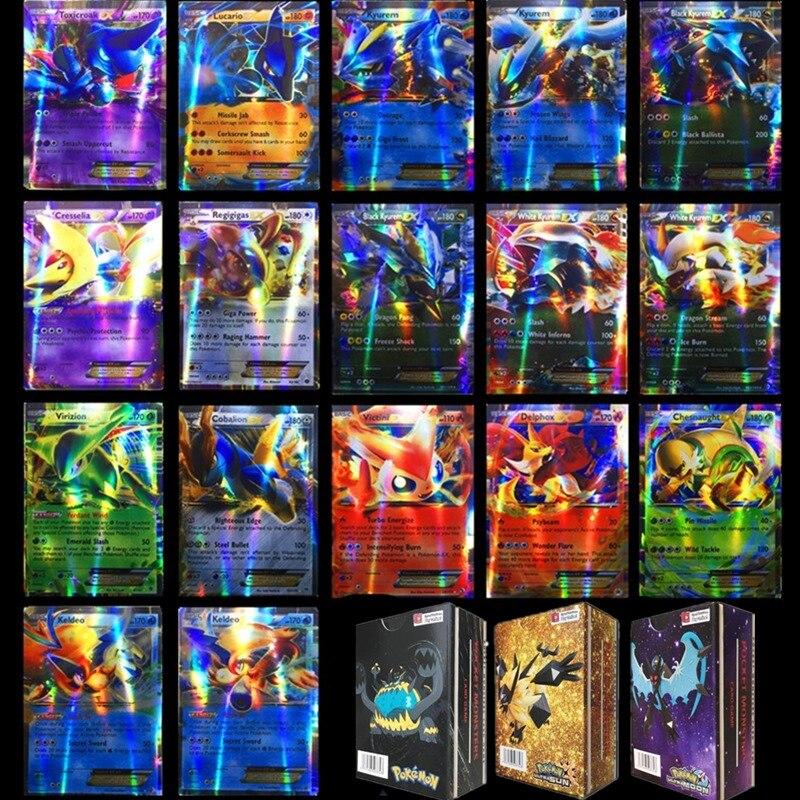 Todos os tipos 20-300 pces gx mega ex gigante brilhante jogo de cartas pokemon batalha cartão de comércio crianças pokemon brinquedos