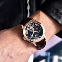 Debert 40mm שעון גברים למעלה יוקרה מותג אופנה ספורט ירח שלב שעון אוטומטי מכאני שעוני יד גברים עור רצועה