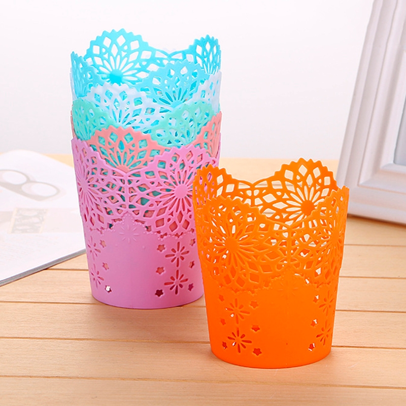 Hollow Flower Brush Storage Pen Pencil Pot Holder Container Desk Organizer Gift DXAC