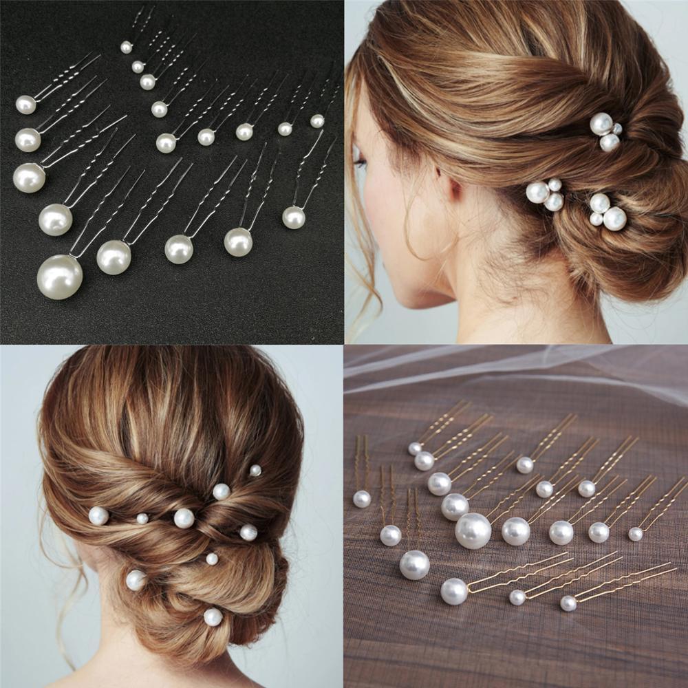 U-образная заколка для волос, 18 шт., элегантная Свадебная заколка для волос с жемчугом, аксессуары для волос