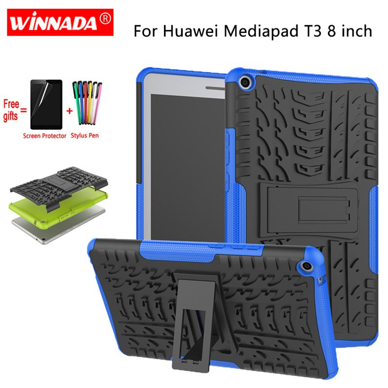For Huawei MediaPad T3 8.0 Case T3-8 KOB-L09 KOB-W09 Tablet Armor Case Silicone TPU+PC Shockproof Stand Cover +Film+Pen