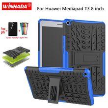 Чехол для Huawei MediaPad T3 8,0, Задняя панель для планшетов из ТПУ + ПК, противоударный чехол-подставка + пленка + ручка