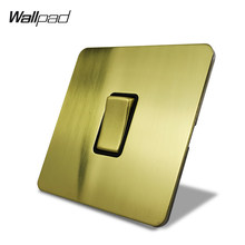 Wallpad Satin Emas 1 Gang 1 Cara Sekali Jalan atau Listrik Lampu Dinding Rocker Switch Brushed Brass Panel Stainless Steel tombol Logam(China)