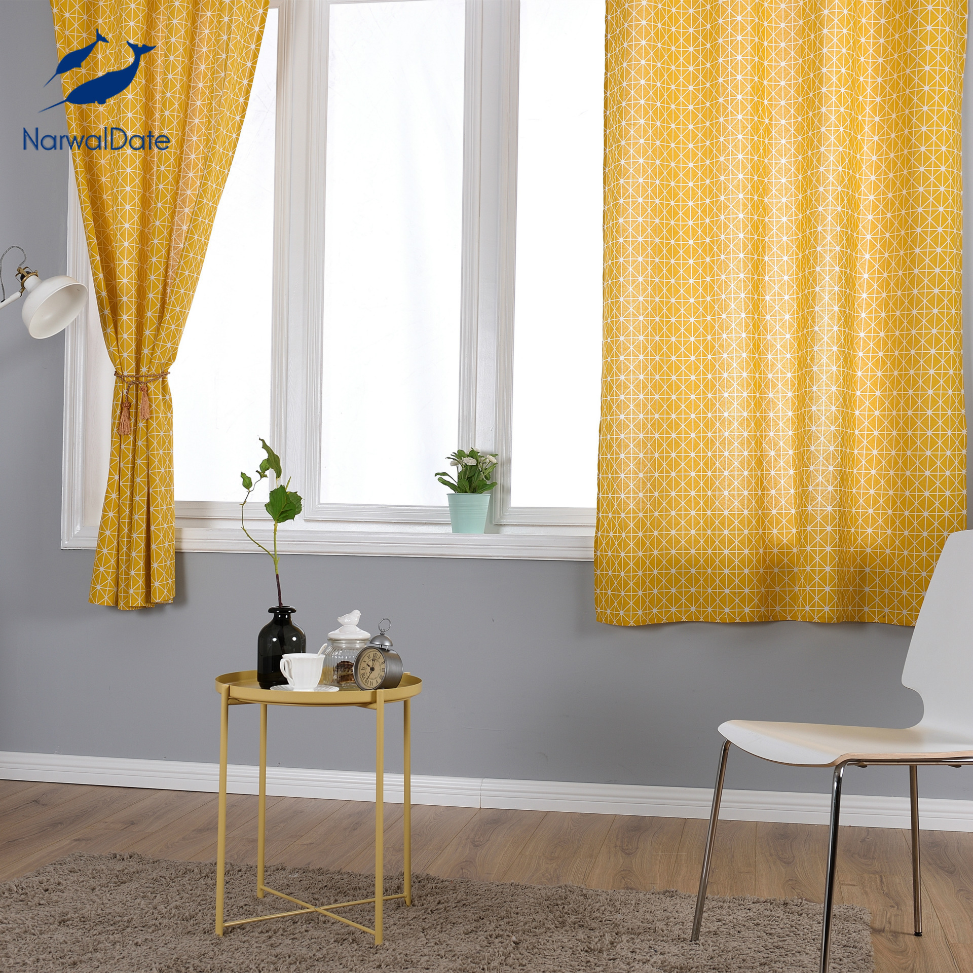 Yellow Linen Cotton Curtains for Living Room Kitchen Geometry Printing Half Blackout Children Bedroom Decorations Window Curtain