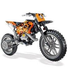 Technic 2 w 1 Moto Cross Bike zestaw klocków cegły miasto klasyczny w kształcie motocykla Model dla dzieci zabawki dla dzieci prezent