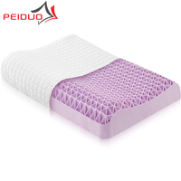 PEIDUO Purple Pillow Neck Support 360 Triangle Grid Soft Responsive Cool Moisture Wicking Home Neck Pain Orthopedic Pillow