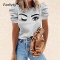 Женский винтажный буф футболка с 2021 летнее элегантное платье с принтом «глаза» женские пуловеры с круглым вырезом в стиле «свободные сердц...