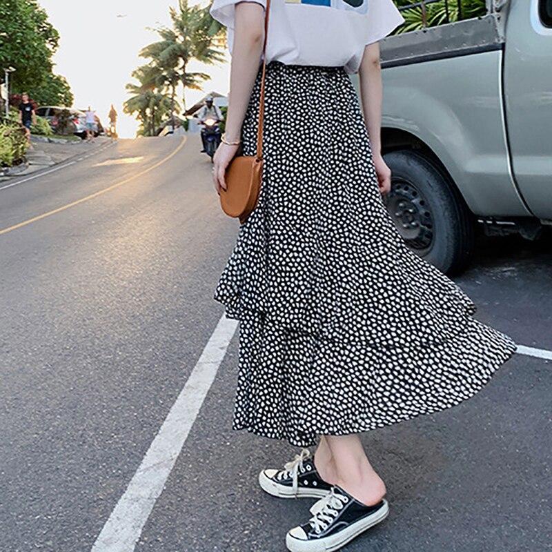 2019 Polka Dot Vintage Skirt High Waist Wave Irregular Lotus Leaf Side Half Skirts Cake Midi Party Long Skirt
