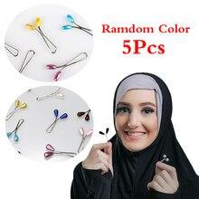 5 Pcs Aleatório Broche Clipe Para Véu Véu Vestido Na Moda Pérola Bola de Arame de Aço Clipe Da Forma Das Senhoras Lenço Muçulmano Colorido fivelas