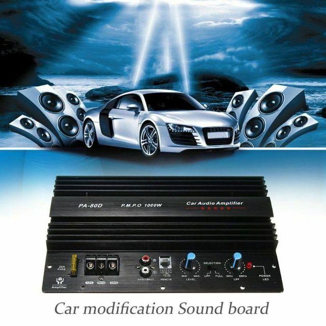 PA 80D 12V 1000W Mono samochodowy sprzęt Audio wzmacniacz mocy płyta wzmacniacza subwoofera