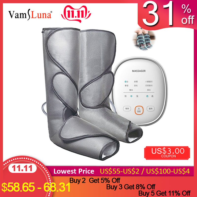 Leg Air Compression Massager Heated For Foot And Calf Circulation  With Handheld Controller 3 Intensities 2 Modes 2 Temperatures