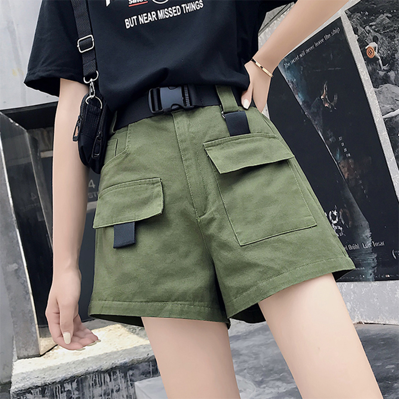 Women Summer Cargo Shorts With Belt Ladies Fashion Streetwear Solid High Waist Loose Shorts Joggers Female Plus Pocket Bottom