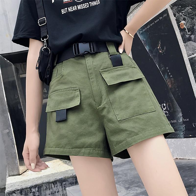 Women Summer Cargo Shorts With Belt Ladies Fashion Streetwear Solid High Waist Loose Shorts Joggers Female Plus Pocket Bottom
