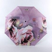 Kreative Rose druck Kleine Sonne Regen Dame Regenschirm Anti-Uv Schutz Winddicht Faltung Kompakte Outdoor Reise Regenschirme