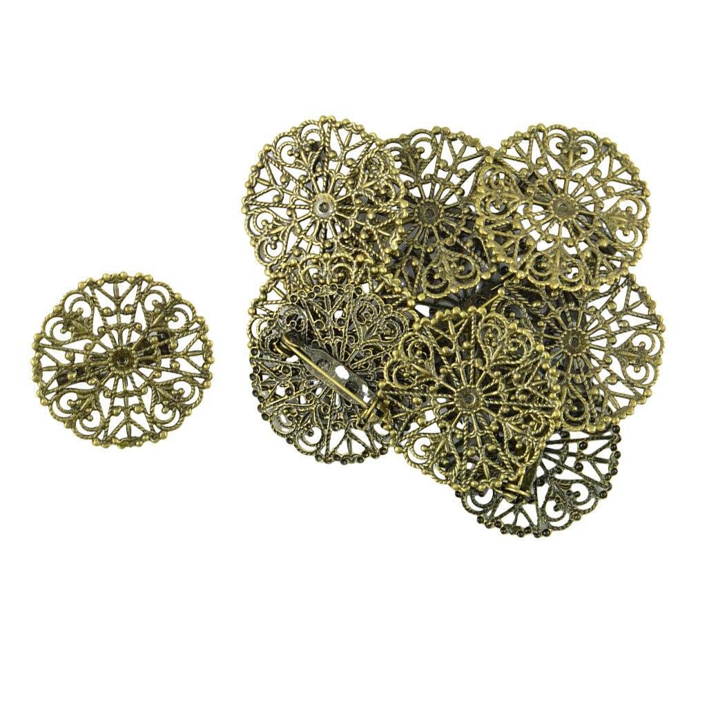 10x Vintage Filigree Flower Blank Brooch Setting Lapel Safety Pin Base Badge