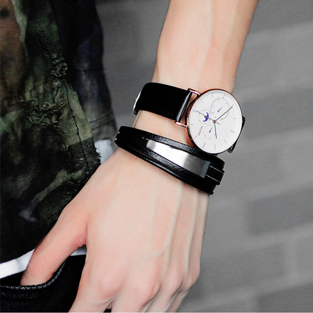 Trendy Hand Woven Bracelet Multi layer Men 39 s Leather Bracelet Fashion Accessory Male in Chain amp Link Bracelets from Jewelry amp Accessories