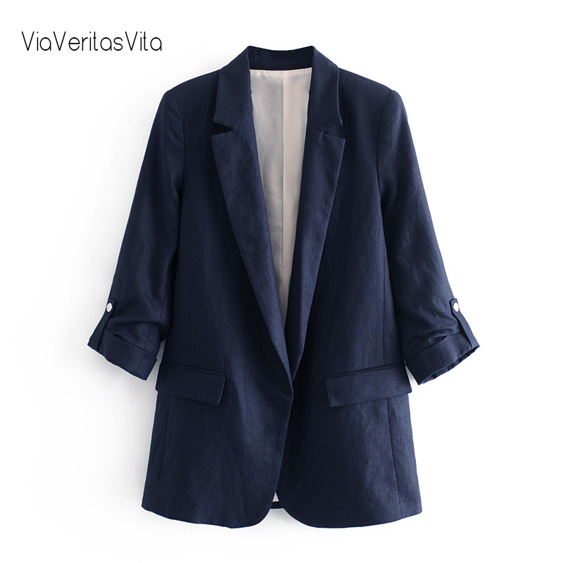 New Design Cotton Linen Womens Casual Blazers Open Stitch Summer Suit Jacket Zoravicky Womens Coats And Jackets 2020