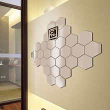 12 штук шестигранные diy стерео акриловые зеркальные настенные