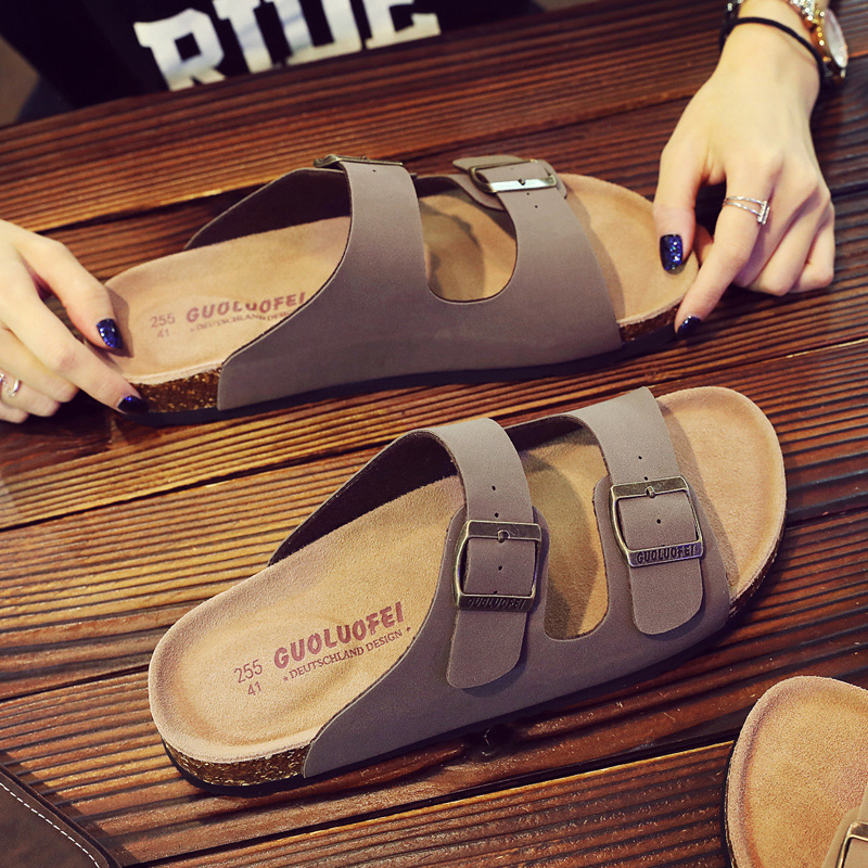 Image 3 - 2019 New Men's Leather Mule Clogs Slippers High Quality Soft Cork Two Buckle Slides Footwear For Men Women Unisex 35 46-in Slippers from Shoes