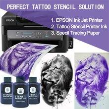 Fedex frete grátis, estêncil de impressora de tatuagem, tinta para impressora de kjet (10 peças de papel de trançamento grátis), estêncil de jato de tinta