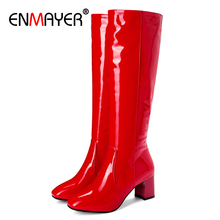 ENMAYER Microfiber Square Toe High Over-the-Knee Zip Rainboots Solid PU Thigh High Boots White Red Rain Boots Women Knee High cheap zipper an7619 Adult Square heel Spring Autumn Rubber High (5cm-8cm) 3-5cm Fits true to size take your normal size White Red Black