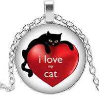 2019 New Cartoon Anime Cute Cat Paws Glass Convex Round Silver Pendant Necklace for Children's Gift Jewelry Necklace