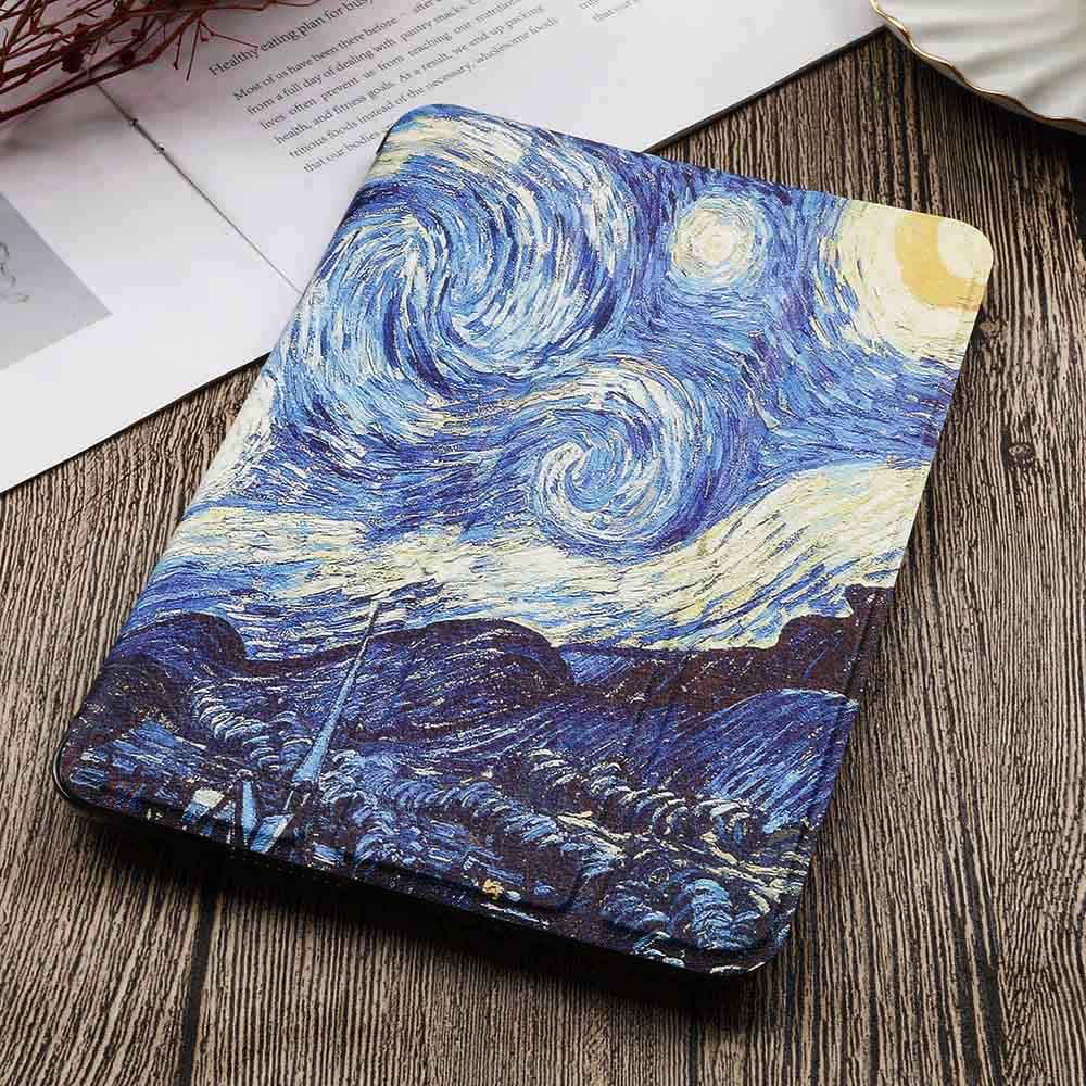 3-iPad 10.2 2020 Blue QIJUN Painted Case For iPad 10 2 inch 2020 PU leather Flip Stand Cover For iPad