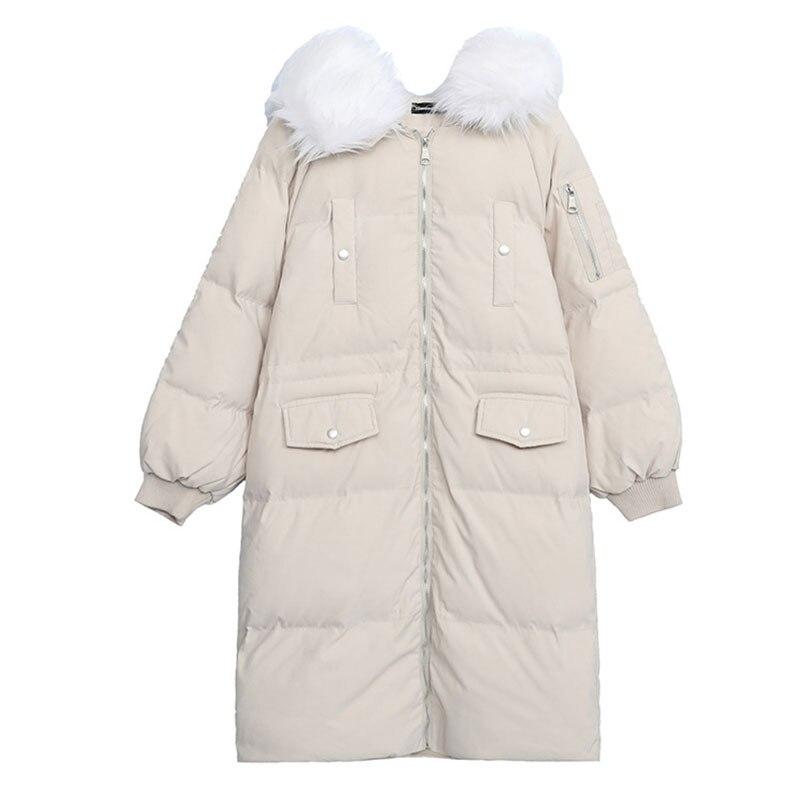 Черная/белая/розовая Зимняя куртка размера плюс, Женская длинная куртка с меховым воротником, большой размер, стеганая верхняя одежда, теплое пальто DZA027 - 5