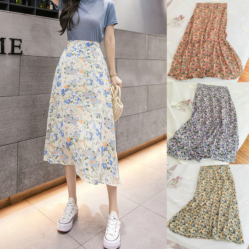 Women Floral Long Skirt Ladies Elastic Waist A-Line Mid-Calf Empire Casual Chiffon Skirts Summer Fashion