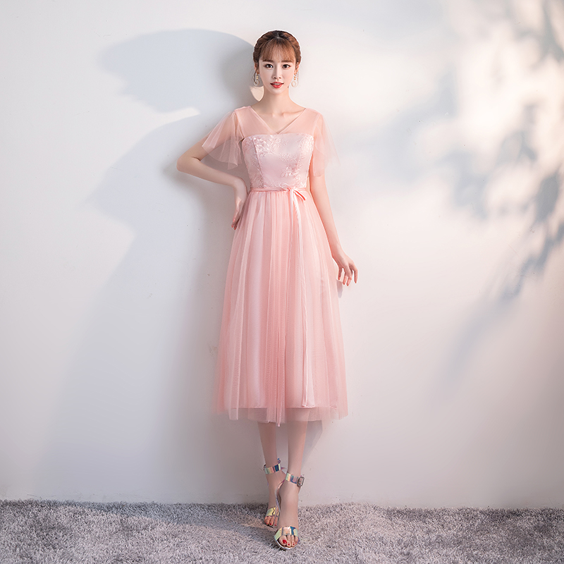Guest Wedding Party Dress Elegant Tea Length Bridesmaids Dresses Pink Plus Size Tulle Sexy Prom Dress Simple New Years Eve Dress
