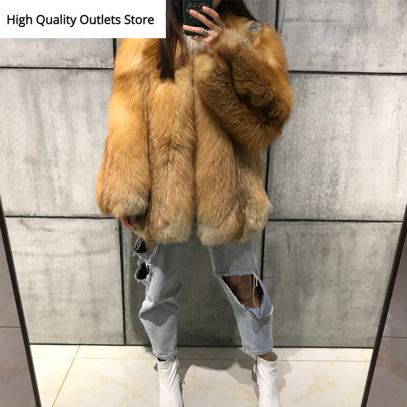 Natural Fur Coat Women Real Fur Coat Red Fox Fur Coat