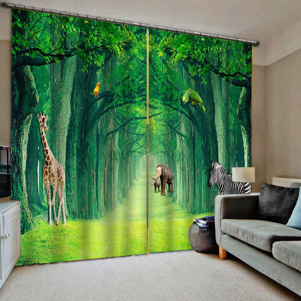 green curtains forest curtain 3D Curtain Printing Blockout Polyester Photo Drapes Fabric For Room