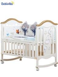 Lit de bébé en bois massif multifonctionnel | En bois massif, européen, blanc, lit de bébé, berceau, lit de couture nouveau-né