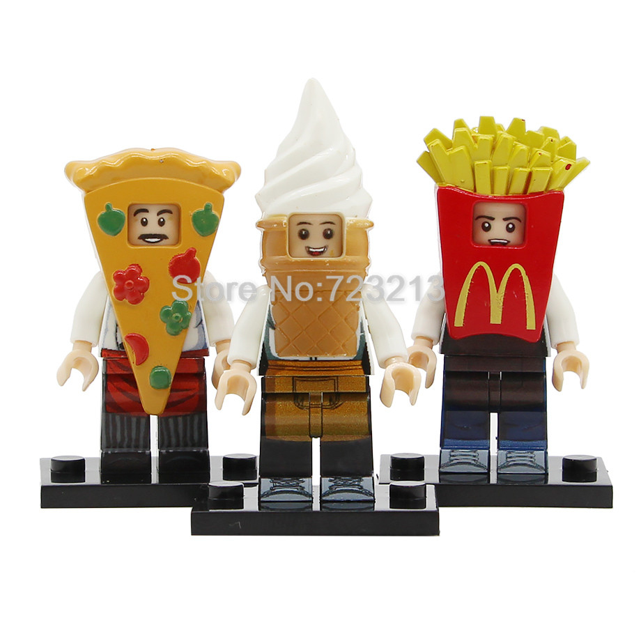 Single PG8114 Fast Food Series PG Figure Set Pizza French Fries Cone Man Building Blocks Kits Bricks Toys For Children Legoing