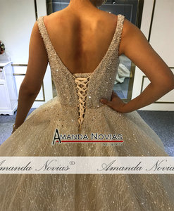 Image 3 - 2020 Champagne Luxury Beading Wedding dress Shiny Cathedral train wedding gown half payment  not  full price