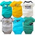 6 pçs/lote bebê manga curta bodysuits gêmeos menino roupa do bebê 100% algodão bebê recém-nascido roupa infantil 6-24m bebê macacão