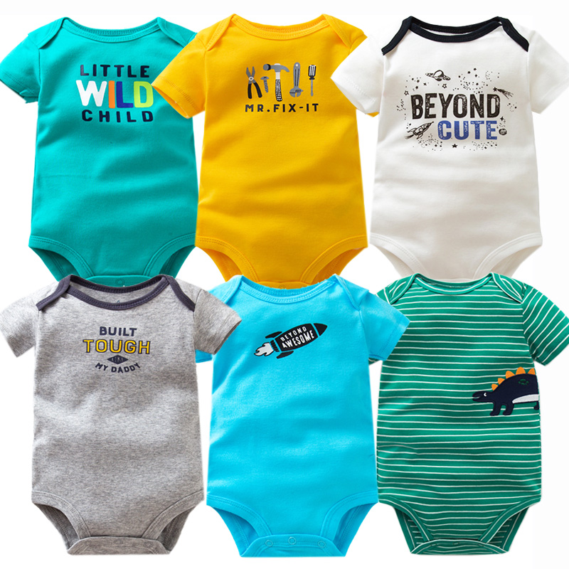 6 Pcs/lot Short Sleeve Baby Bodysuits Twins Baby Boy Clothes 100% Cotton Newborn Baby Clothes Infant 6-24m Baby Jumpsuit