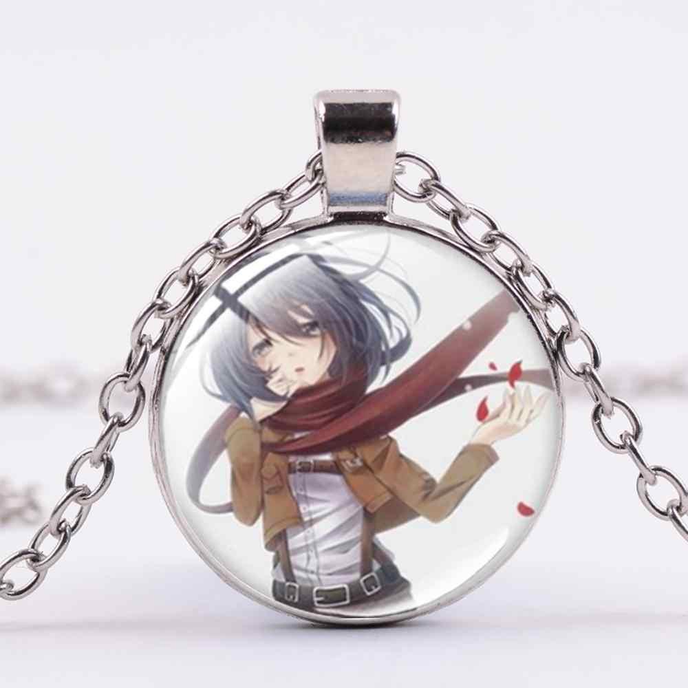 SIAN Anime saldırı Titan kolye Levi Rivaille Ackerman Eren amblemi cam Cabochon kolye kolye Unisex hatıra takı