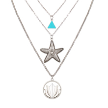 Multi Layer Necklaces For Women Fashion Silver Round  Triangle Starfish Charm Chains Necklace Female Accessories