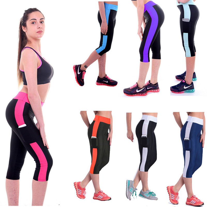 Sexy Lady Striped Night Running Tights Women 3/4 Length Sports Capri Compression Pants With Pocket High Waist Fitness Clothing