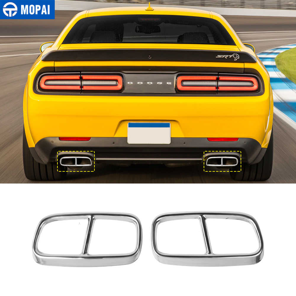 mopai car exhaust pipe cover for challenger sxt 2015 car rear tail throat decorative accessories for dodge challenger 2015