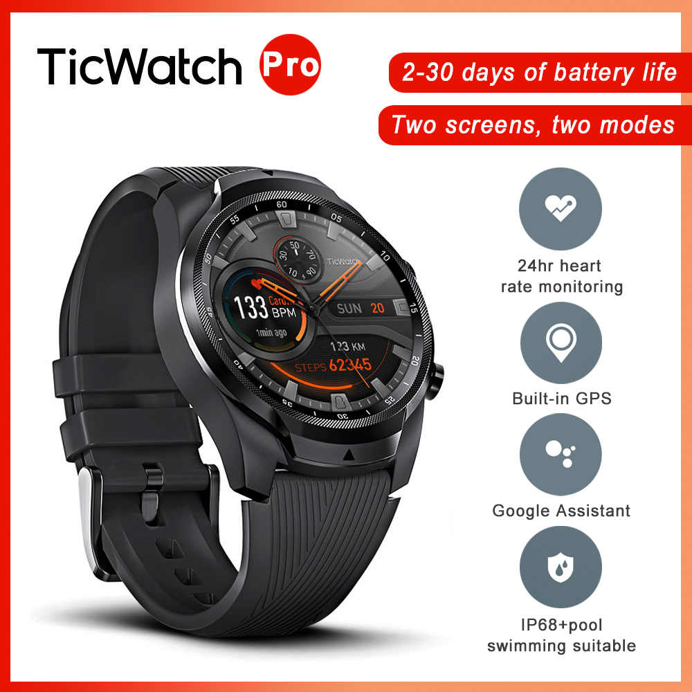 Ticwatch Pro Bluetooth Smart Watch IP68 Tahan Air Smart Clock Mendukung Pembayaran NFC/Google Asisten Google 4G Smartwatch pria