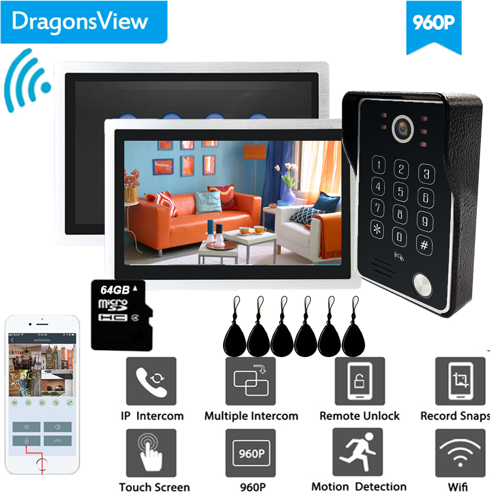 Dragonsview 10 Inch Smart Wifi Video Doorbell Intercom System With RFID Password Wireless Video Door Phone IP 4 Channels